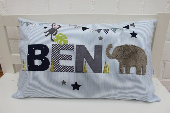 Pillow with name pillow cover pillow birth baby pillow pillow personalized jungle elephant cuddly pillow baby pillow baby pillow