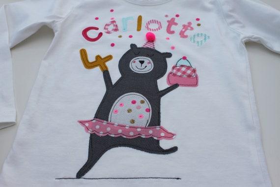 Birthday shirt children, birthday shirt, shirt for girls, shirt with number, shirt with name, Bear, T-shirt, ballerina, cupcake, confetti, Milla Louise