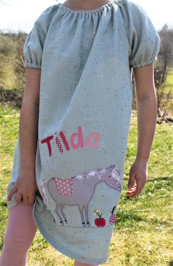 Birthday dress, girl dress, tunicat birthday, blouse with number, tunic horse, pendant birthday, tunic, mustline,birthday dress