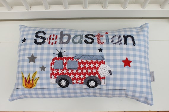 Pillow with name pillow cover pillow birth baby pillow pillow personalized fire brigade pillow child pillow baby pillow