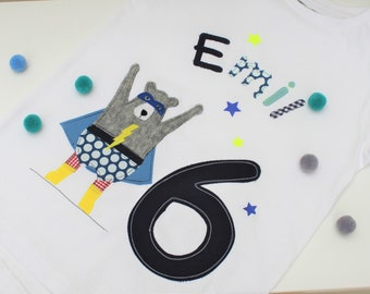birthday shirt kids,birthday shirt,shirt for boys,shirt with name,shirt with number, shirt superhero, shirt bear, superhero shirt,bear