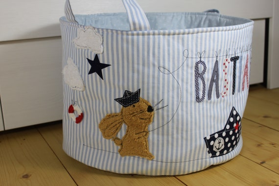 Toy bag Toy Basket Bunny Boys Toys Storage Gift baptism birth children room name Personalized