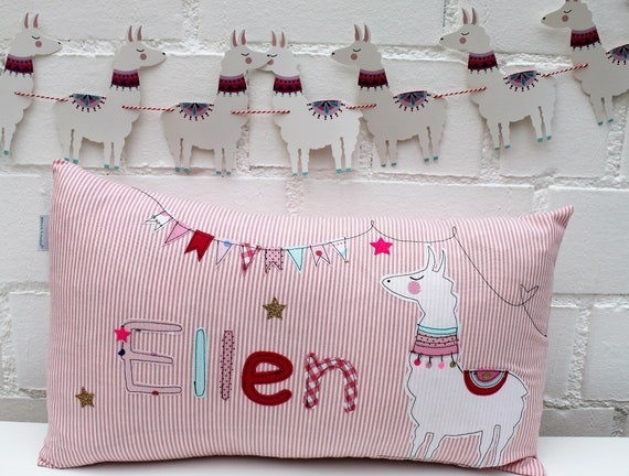 Pillow with name pillow cover pillow birth baby pillow cover pillow personalized llama cuddly pillow child pillow baby pillow