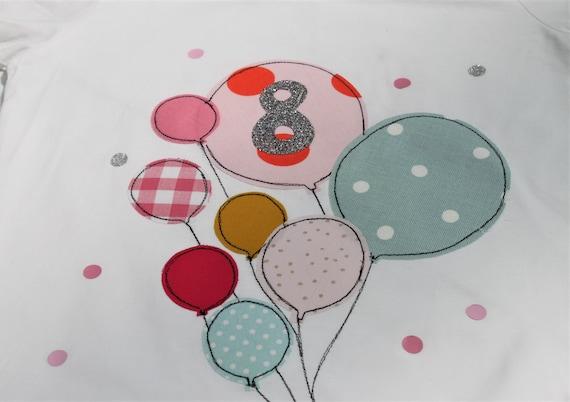 Birthday shirt kids,birthday shirt,shirt girl,shirt with name,shirt with number, balloons, shirt with balloons,T-shirt, children's birthday