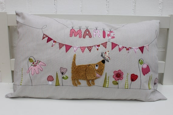 Pillow with Name Pillow Cover Pillow Birth Baby Pillow Pillow Personalized Dog Flowers Cuddly Pillow Children Pillow Baby Pillow