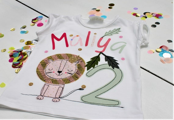 Birthday Shirt Kids,Birthday Shirt,Shirt for Girls,Shirt with Name,Shirt with Number,Lion, Shirt Safari, Lion Shirt, Safari Birthday
