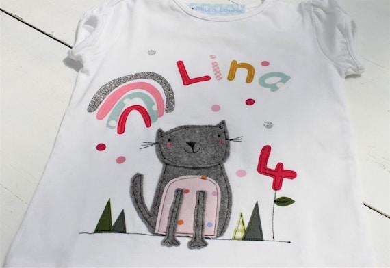 Birthday shirt kids,birthday shirt,shirt for girls,shirt with name,shirt with number,cat,gift,cat shirt,t-shirt, rainbow
