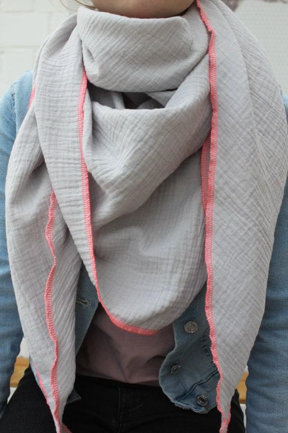 Muslin scarf, muslin scarf, scarf muslin, diaper fabric, muslin grey, triangle towel muslin, muslin cloth grey, cotton muselin, summer