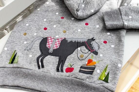 Sweatshirt Kids Sweat jacket Kids Hoodie Kids Girl Horse Hooded Sweatshirt Sweatshirt with Horse Sweater Girl Milla Louise