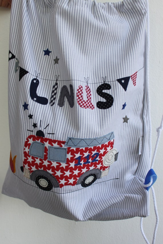 Gymnastic bag, kindergarten backpack, kindergarten bag with name, fire brigade, sports bag, kindergarten bag, Milla Louise