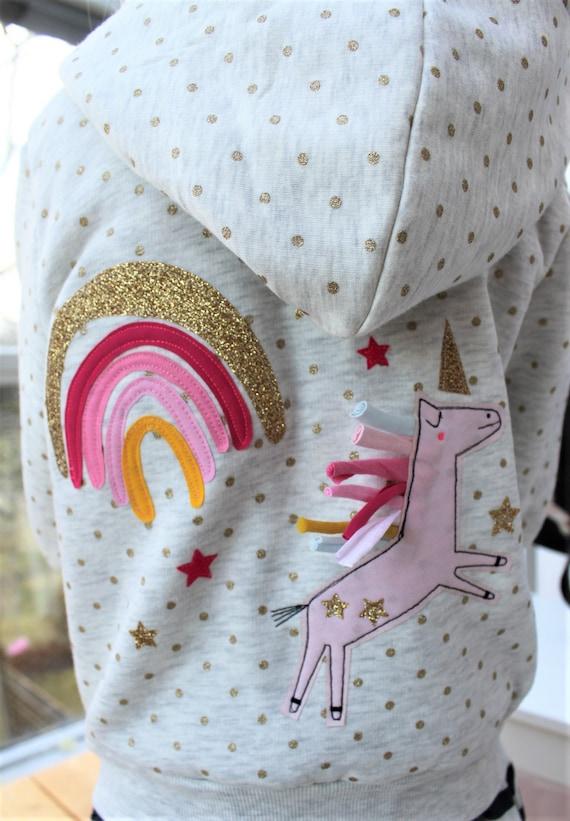Sweat jacket, unicorn sweat jacket, sweater rainbow, kids sweater, spring, summer, hoodie kids girl unicorn rainbow Milla Louise