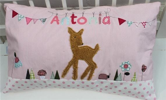 Pillow with name pillow cover pillow birth baby pillow cover pillow personalized name pillow pillow children pillow pillow deer