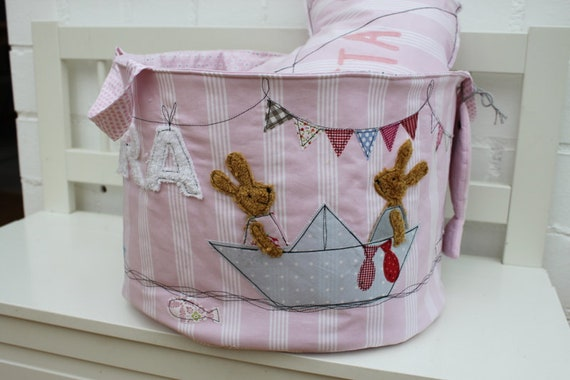 Toy bag toy basket bunny girl toy storage gift baptism birth nursery name personalized