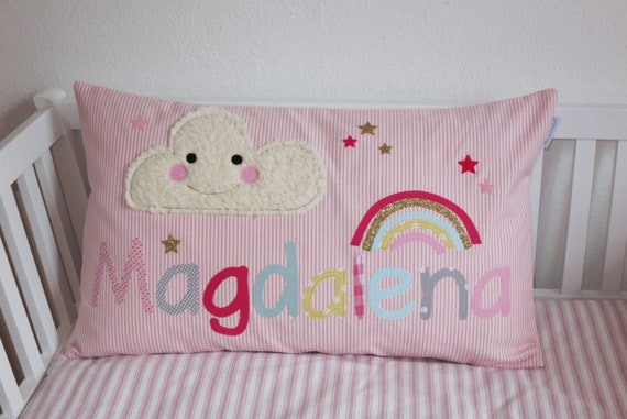 Pillow with name pillow cover pillow birth baby pillow pillow personalized cloud rainbow cushion child pillow baby pillow