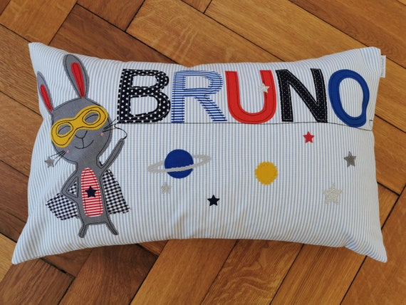 Pillow with name pillow cover pillow birth baby pillow cover pillow personalized superhero bunny cuddly pillow child pillow baby pillow