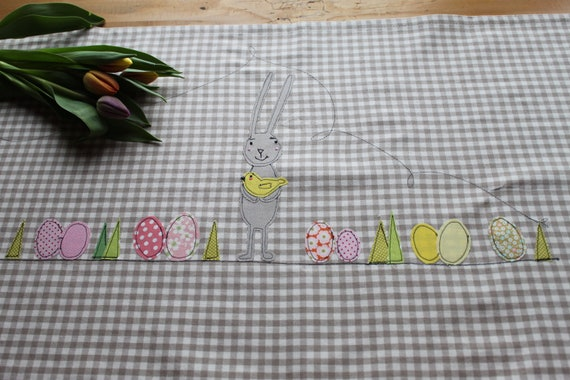 Table Runner Easter, tablecloth Easter, Easter Deco, Table Runner, Easter, Easter Bunny Easter Egg, Spring, Easter Deco, Spring Deco, Chicken, Henne