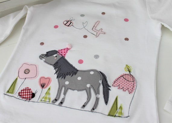 Birthday shirt Kids, Birthday Shirt, Shirt for Girl, Shirt with Name, Shirt with Number, Pony, Gift, Shirt with Horse, T-Shirt, Milla Louise