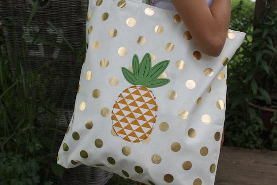 Beach bag shopper tote bag pineapple bag