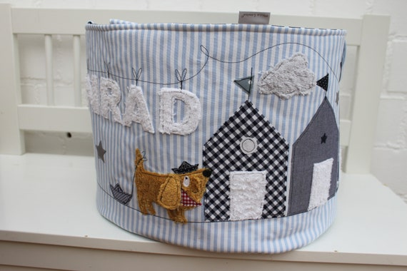Toy bag toy basket dog boys toy storage gift baptism birth nursery name personalized