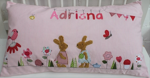 Pillow with name pillow cover pillow birth baby pillow pillow personalized rabbits flowers pillow child pillow baby pillow