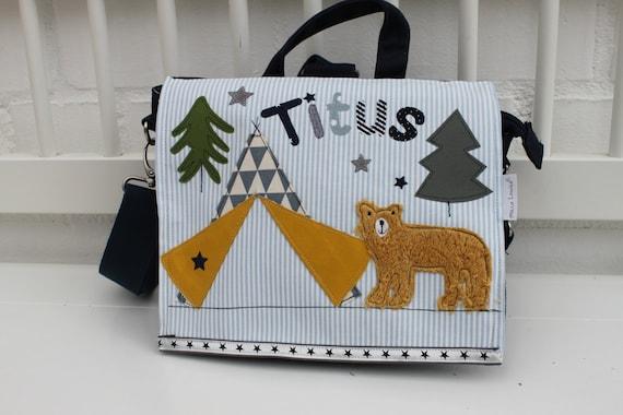 Nursery Backpack Nursery Bag with Name Backpack Nursery Child Backpack Kita Bag Canvas Tipi Bear Milla Louise