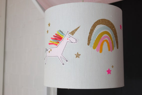 Lampshade Nursery, Hanging Lamp, Ceiling Lamp, Floor Lamp, Lamp, Lamp, Light, Unicorn, Rainbow, MillaLouise