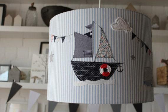 lampshade children's room, hanging lamp, ceiling lamp, floor lamp, lamp, lamp, light, sailboat, ship, whale, maritime, MillaLouise