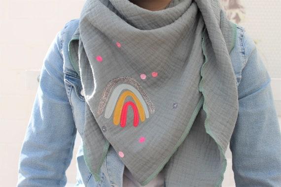 XXL scarf muslin, muslin scarf, muslin scarf, rainbow cloth, rainbow towel, confetti, glitter, muslin mint, green, muslin neck scarf