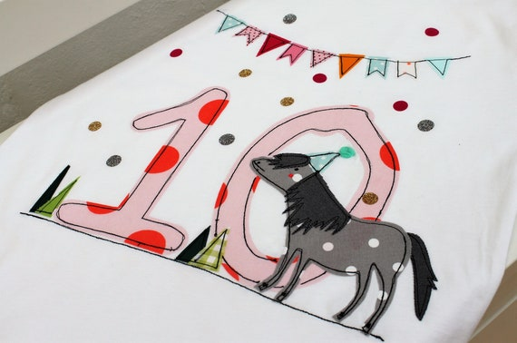 Birthday shirt kids,birthday shirt,shirt for girls,shirt with name,shirt with number, pony,gift,shirt with horse,t-shirt,Milla Louise