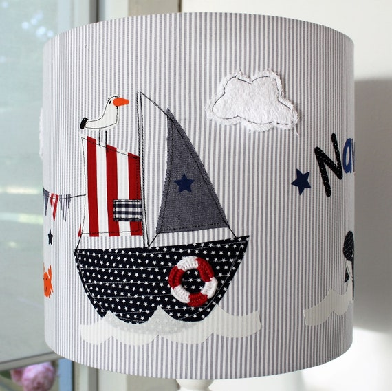 Lampshade Nursery, Hanging Lamp, Ceiling Lamp, Floor Lamp, Light, Sailboat, Name, by MillaLouise