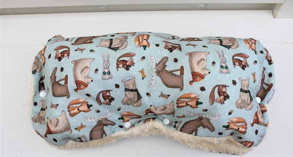 Stylish stroller muff muff stroller handmuff stroller with cute forest animals Milla Louise 1x immediately available