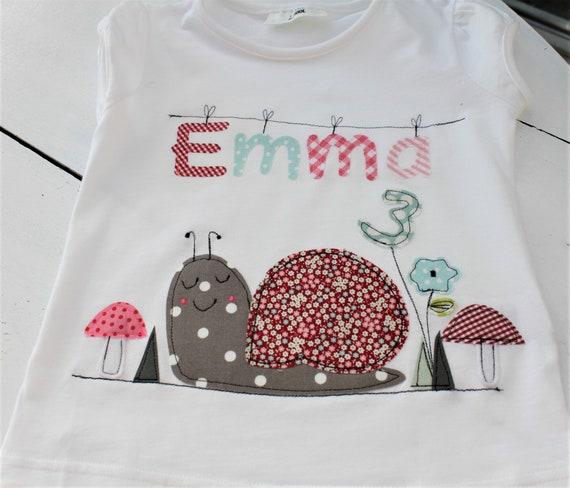 Birthday shirt kids,birthday shirt,shirt for girls,shirt with name,shirt with number,snail,gift,shirt snail,toadstools,flower
