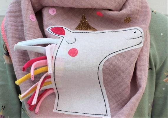 Children's scarf muslin, muslin scarf, muslin scarf, cloth rainbow, rainbow scarf, confetti, glitter, muslin pink, cloth unicorn