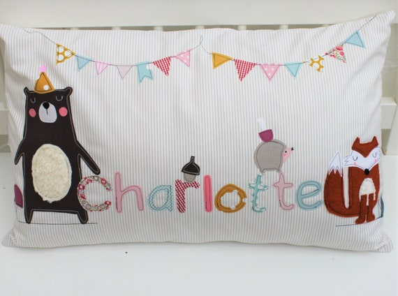 Pillow with Name Pillowcase Pillow Birth Baby PillowCase Pillow Personalized Name Pillow Cuddly Pillow Children's Pillow Baby Pillow Fox
