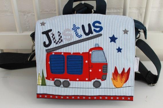 Kindergarten Backpack Nursery Bag with name backpack Kindergarten child Kids backpack Kita bag canvas fire brigade Milla Louise