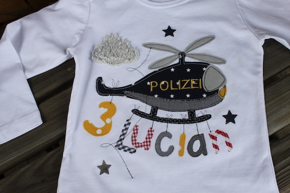 Birthday Shirt Kids,Birthday Shirt,Shirt for Boys,Shirt with Name,Shirt with Number,Police,Helicopter,Gift,Shirt,Milla Louise