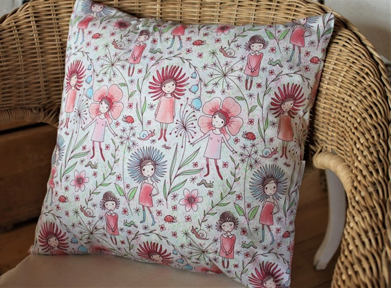 1x Immediately Available Pillow, Pillow Cover, Flowers, Girl, Spring, Decoration, Decoration Pillow, Kids, Summer