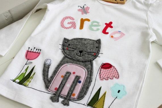 Birthday shirt Kids, Birthday Shirt, Shirt for Girl, Shirt with Name, Shirt with Number, Cat, Gift, Cat Shirt, T-Shirt, Milla Louise