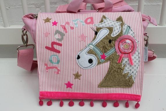 Nursery backpack nursery bag with name backpack kindergarten child child backpack kita bag canvas pony horse Milla Louise