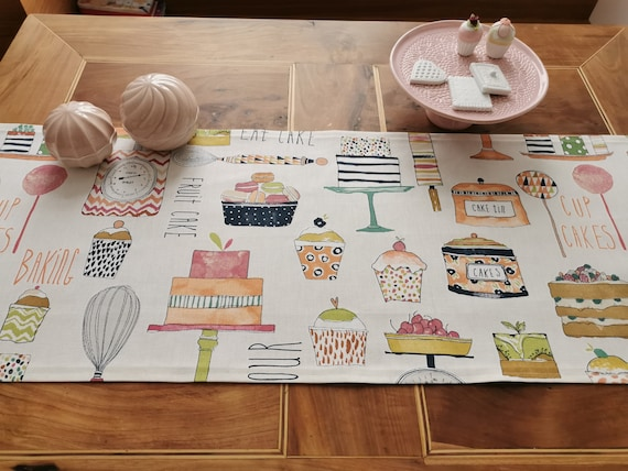 1x Immediately Available Table Runner Spring, Tablecloth Coffee and Cake Deco Muffin Cupcake Tarts Guests Deco Fabric Milla Louise