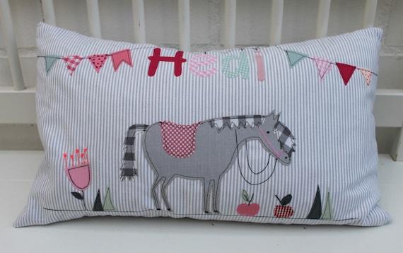 Pillow with Name Pillowcase Pillow Birth Baby PillowCase Pillow Personalized Names Pillow Cuddly Pillow Children's Pillow Pillow Horse