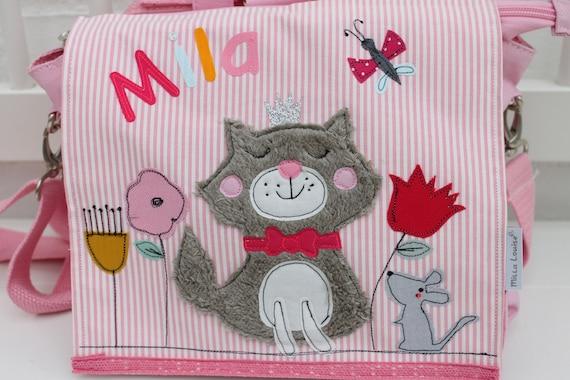 Kindergarten Backpack Nursery Bag with name backpack Kindergarten child Kids backpack Kita bag canvas cat Milla Louise