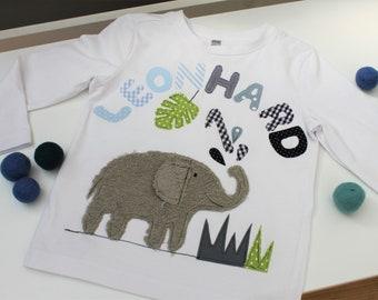 Birthday Shirt Kids,Birthday Shirt,Shirt for Boys,Shirt with Name,Shirt with Number,Elephant,Jungle,Gift,Shirt,Milla Louise