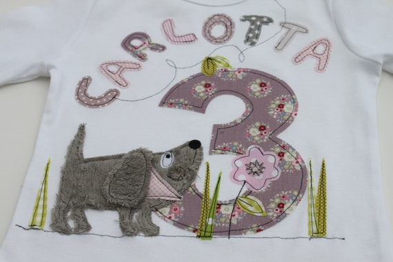 Birthday shirt, dog, girl, kids, t-shirt, birthday shirt, with number, with name, as a gift, by MillaLouise