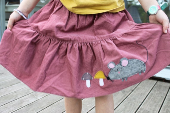 Rock, Rock Finecord, Fine Cord Skirt, Step Skirt, Rock Cord, Mouse, Fly Mushrooms, Glitter Skirt, Cord Pink, Altrosé, Rock Autumn