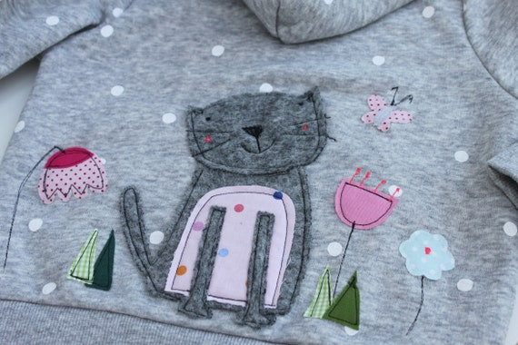 Sweatshirt Kids Sweat Jacket Kids Hoodie Kids Girls Cat Hooded Sweatshirt Sweatshirt with Cat Sweater Girl Milla Louise