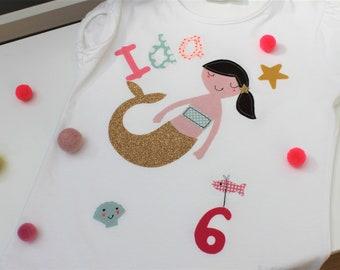 Birthday Shirt Kids, Birthday Shirt,Children's Shirt Girl, Mermaid, Mermaid, with Name, Shirt with Number, Birthday, by MillaLouise