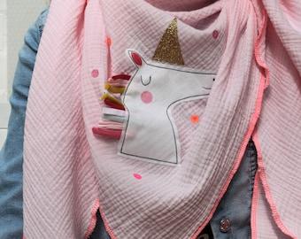 XXL scarf mussel, mussel cloth, mussel scarf,cloth rainbow, rainbow cloth, confetti, glitter, mulin pink, cloth unicorn