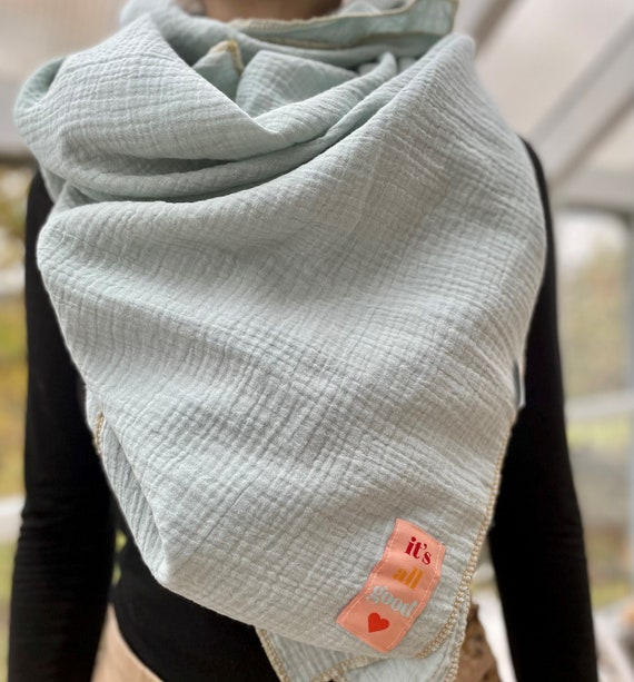 XXL scarf muslin 125 x 125 cm, muslin scarf, muslin scarf, triangular scarf, muslin, autumn, winter, cotton muslin, large scarf