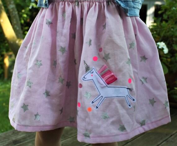 Rock, rock muslin, muslin skirt, muslin, rock unicorn, skirt with unicorn, confetti, glitter skirt, muslin pink, altrosé, stars silver